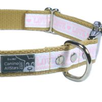 DOG COLLAR - LOVE PINK AND WHITE (RIBBON 16mm)